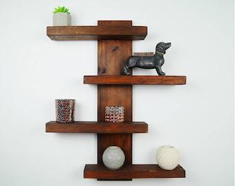 Handmade Modern Rustic, 4 tier shifted shelves