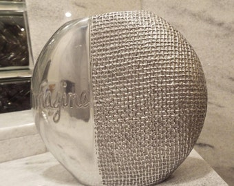 "Vintange Sandra Magsamen Silvestri Silver Tone Metal Vase ""Imagine"""