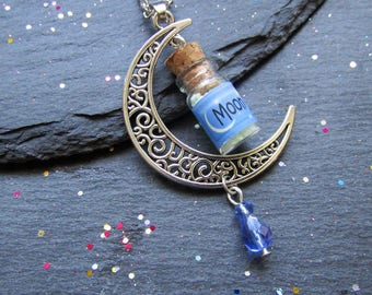 Glow in the Dark Moon Dust Necklace, Moon Crescent Necklace, Mini Bottle Necklace, Glow in the Dark Jewelry, Moon Jewelry, Moon Crescent