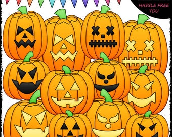 Jack-o-lanterns Clip Art and B&W Set