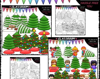 Trim A Tree Clip Art and B&W Set