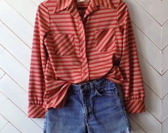 Fall stripes | Vintage 1960's Long sleeve Catalina Sportswear Blouse | Sz S M