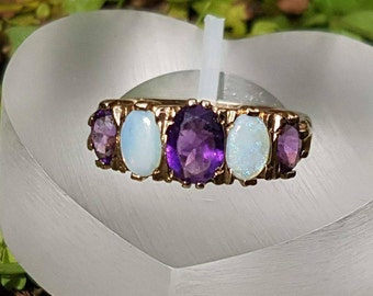 Amethyst & Opal Vintage  Gold Ring