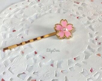 UV resin cherry blossom hair pin
