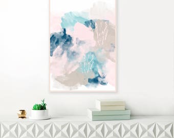Abstract Art, Pink, Blue and Grey Painting, Pale Pink and Navy Blue Print, Large wall Art, Beach House Wall Art, Original Art