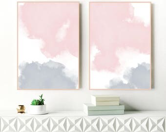 Blush Pink and Grey Abstract Art, Set of 2 Watercolour Prints, Two Large Abstract Paintings, Printable Modern Art, Digital Download Art