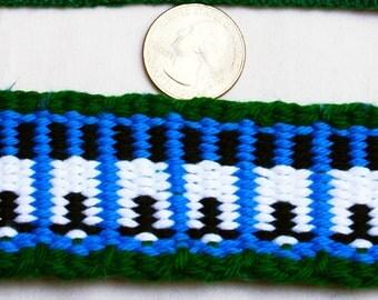 Inkle: Krokbradgd Blue, Green, White Big Sheep (Cotton, 7 ft)