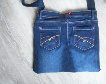 fancy blue jean bag fully lined