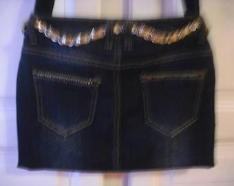 purse blue denim fully lined to wear l ' shoulder