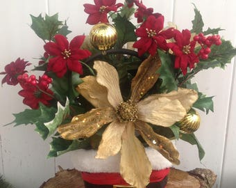 Santa Basket Gold Poinsettia Christmas Arrangement