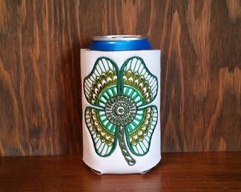 Shamrock St Patricks Day Can Cooler, Embroidered Can Cooler, Embroidery Can Cooler, Cozies, Holiday Cozie, Can Cooler, Holiday Can Cooler