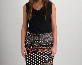 Reversible Cotton Skirt Black Patch Black White Polka Print Grey Print Cotton Belt Long Length