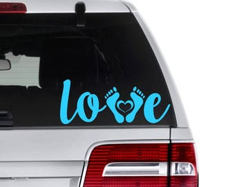 Love Baby Decal - Baby Feet Car Decal - Gift for New Mom - Baby Shower Gift - Love Baby Yeti Decal - New Baby Decal - New Mom and Dad Decal
