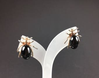 Vintage Earrings-Sterling silver-cabochons-Rhinestone Jewelry-1940s-rhinestone Jewelry-estate-Gift beetle