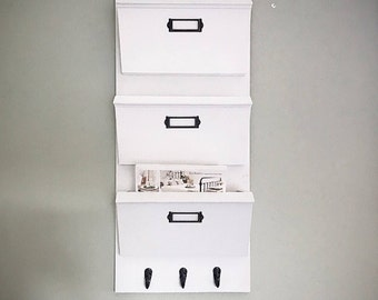 Hanging Mail Organizer, Command Center, Magazine Rack wall mounted, Office Decor, White Entryway Organizer, Mail Holder, Mail Sorter,