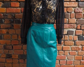 Women's 90s Black Lace And Sheer Long Sleeve Blouse Shirt With Shoulder Pads Size Medium