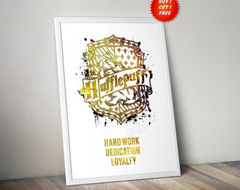 Hufflepuff,House, Traits, Print, Poster, Fan Art, Harry Potter, Crest, Hogwarts,Birthday, Ravenclaw, Slytherin, Gryffindor, Badger