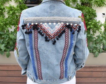 Embroidered denim jacket, Boho jean jacket, festival fashion, Embroidered jean jacket, Boho jean jacket, size S/M
