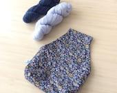 Très joli sac à projet tricot ou crochet nomade - Pochon avec des fleurs pour vos encours