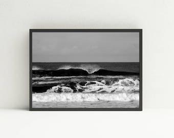 Pacific Ocean Art - Oregon Coast Art - Ocean Printable Art - Beach Print Wall Art - Ocean Waves Wall Art - Black and White Wall Art