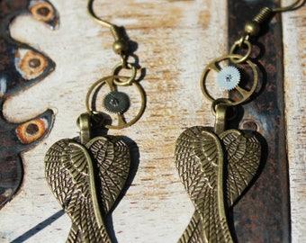 Steampunk Wing Statement Earrings