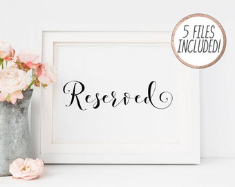 Printable Wedding Reserved Signs, DIY Reserved Wedding Sign, Printable Reserved sign, Wedding signs, Large Wedding Signs