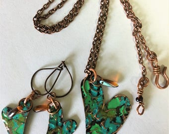 Copper heart necklace/Valentines Day Gift