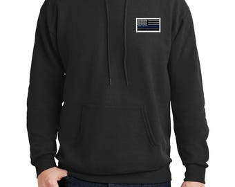 Embroidered Blue Line Flag Pull Over Hoodie