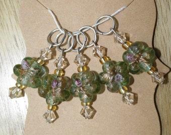 Green Flower Stitch Markers