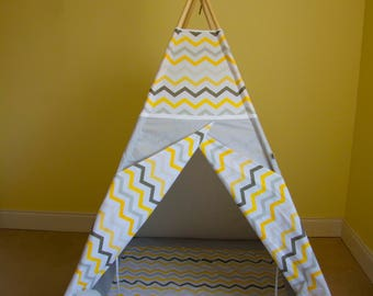 Yellow and grey chevron teepee tent for kids / wigwam for children / teepee play tent