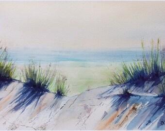 Aquarelle originale Peinture originale paysage de mer dunes marine