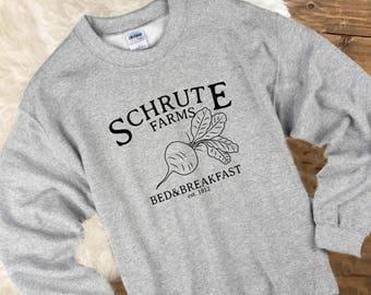 Schrute Farms Sweatshirt Pullover Sweater,  Dunder Mifflin T-Shirt, The Office Sweater, Dwight Schrute, Michael Scott, Jim Halpert
