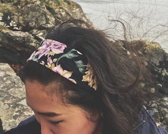 Vintage Purple Floral Pattern | Single Band Style | Headband | Handsewn