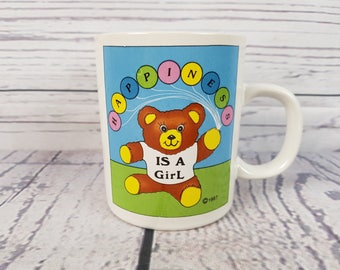 Vintage It's a Girl 1987 Baby Shower Gift Mug Coffee Cup Novelty Retro Decor Break Time Tea Hot Beverages Gift Announcement Korea