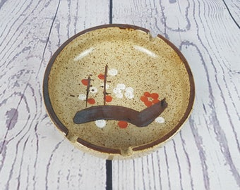 Vintage Round Painted Stoneware Ceramic Ashtray Modern Mid Century Cigarette Smoking Break Souvenir Collectible Geometric Pop Art Decor