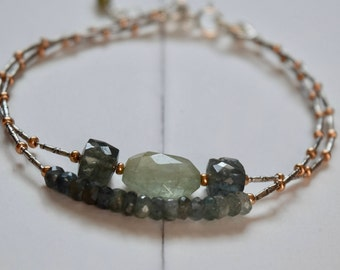 Aquamarine & Moss Aquamarine Bracelet~ Energy Bracelets ~ March Birthstone Bracelet~ Mother's Day Bracelet~ Gifts For Her
