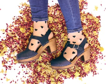 Swedish Clogs Highwood T-Bar Navy Brown Base Leather by Lotta from Stockholm / Wooden Clogs / Sandals / High Heel / Mary Jane Shoes