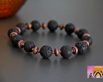 Lava Stone Copper Essential Oil Diffuser Bracelet-Wrist Mala-Gemstones-Beaded Bracelet-Yoga Jewellery-Intention Bracelet-Boho Chic-Unisex
