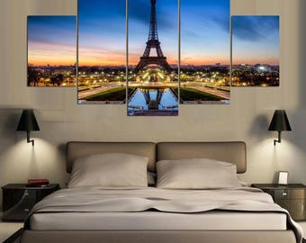 Canvas Print 5 Paris Eiffel Tower  / Paris Skyline Scenery Canvas Print /  Home Decor / Wall Art / Home Inspiration