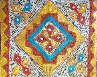 Gorgeous, Vintage, Persian Tatting As Case For Decorative Pillow. Needlework, Hand Made, Middle East.