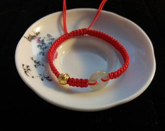 Lucky Chinese Red String Bracelet with one 24K Pure Gold Bead and One Natural Donut Flourite Bead