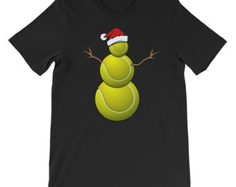 Funny Christmas Shirt for Tennis Lovers Funny Christmas Tennis Ball Santa Snowman T-Shirt