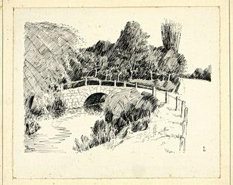 Thynce Hill Bridge, The Lakes District, Antique Ink Sketch, Antique 1930s British Landscape art, Hand Drawn Landscape, Handmade Home Decor