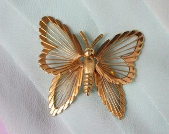 Vintage Monet Butterfly Brooch, Signed Monet Mid Century Goldtone Butterfly Brooch