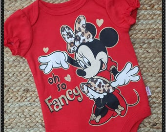 Minnie Mouse Onesie,  Oh So Fancy, Baby Girl Minnie Mouse,  Disney Vacation, Baby Clothing