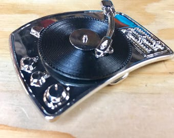 Turntable Belt Buckle - Record Player Buckle / DJ / Deejay / Technics - Great Gift!