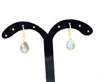 labradorite earring, grey color earring ,labradorite jewelry ,tiny earring ,bezel setting earring ,gold plating earring ,delicate earring ,