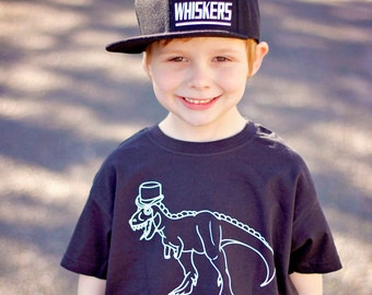 Dino shirt, dinosaur shirt, kids dino tee, fancy dino shirt, t-rex shirt, trex tee, tophat shirt, dino tattoo, tattoo dinosaur, tattoo shirt