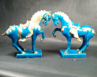 Ugo Zaccagnini Tang Warrior Horses Italian (2) - Gorgeous deep blue and gold