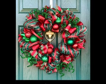 FREE SHIP+15%off Christmas Wreath, Red and Green Wreath, Holiday Wreath